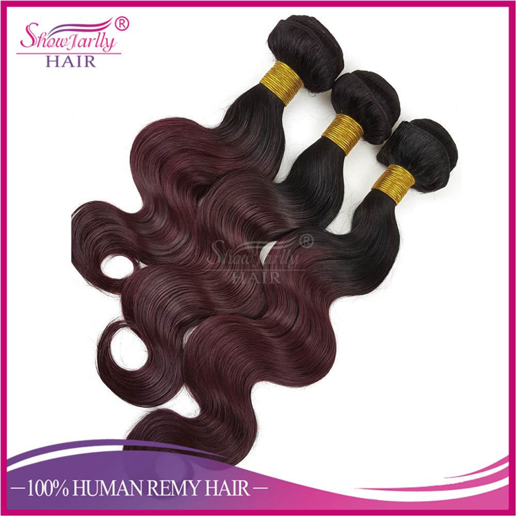 Alibaba Wholesale Two Tone Ombre Colored Hair Weave Bundles ,1b99J# Ombre Human Hair Weave For African American