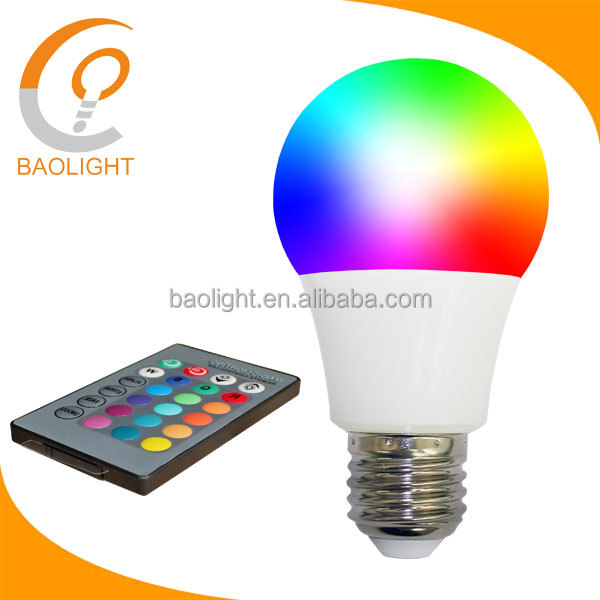 ce rohs approval 7W cob led rgb lighting bulb color changing with ir controller e27 220v for stages, ktv, hotels