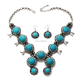 2017 New fashion turquoise squash blossom necklace, jewelry brands imitations, squash jewelry necklace