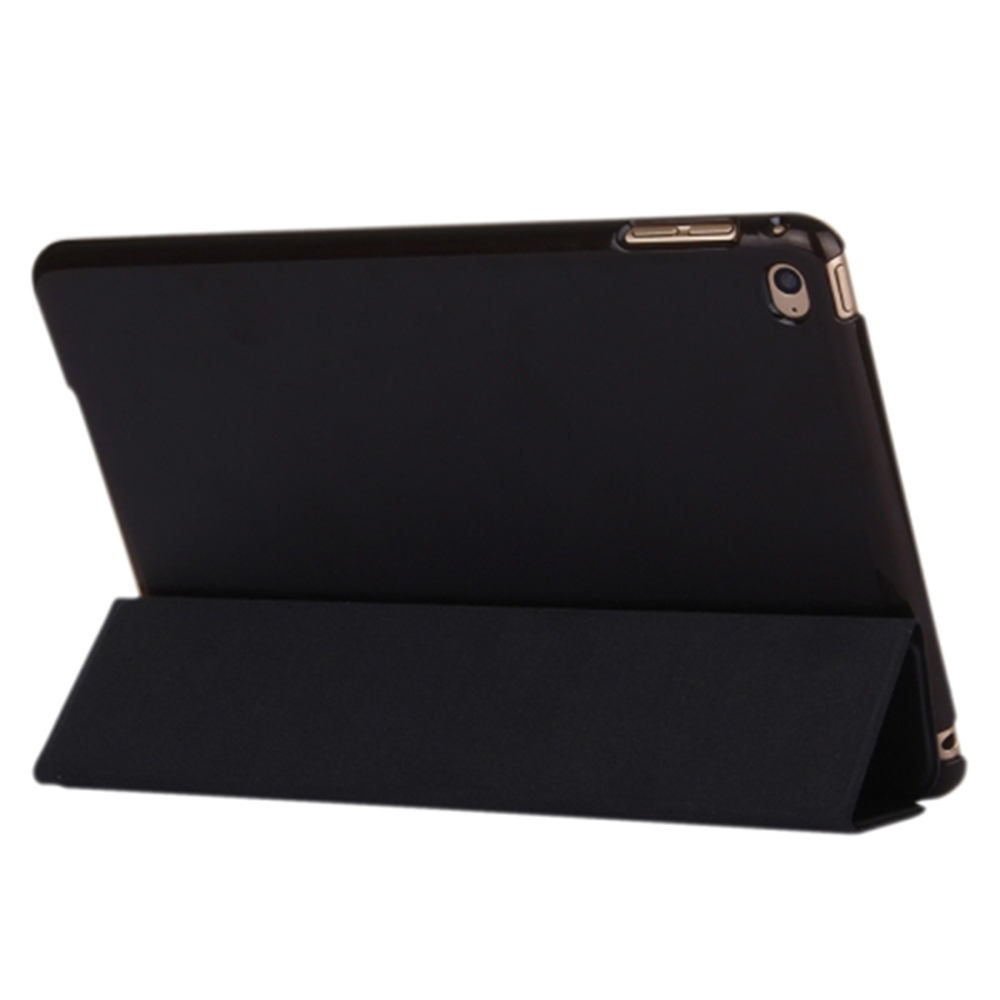 In Stock Flip Leather Case for iPad mini 4 with Three-Folding Holder & Sleep / Wake-up Function