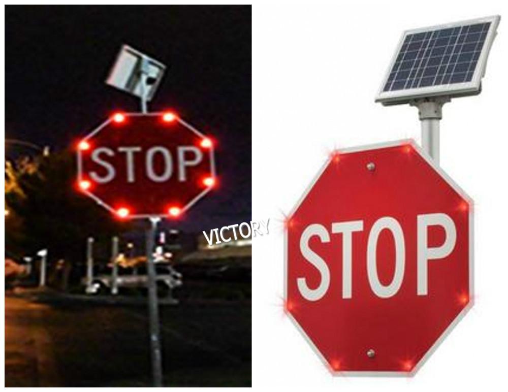 Solar Powered Flashing Led Stop Traffic Sign Buy