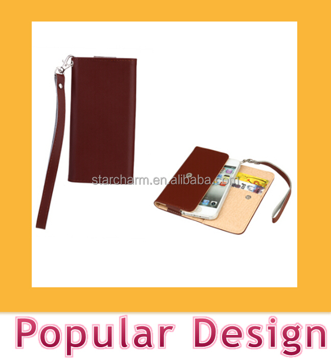 Lady style hand bag mobile cover leather case with strap for Iphone 5