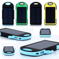 5000mAh Dual USB Waterproof Solar Power Bank Battery Charger for Cell Phone