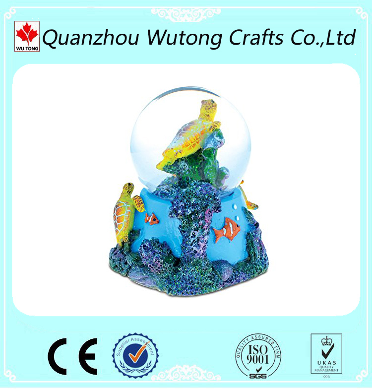 Resin Craft Home Decoration Ocean Style Turtle Design Souvenir Gifts Snow Globe