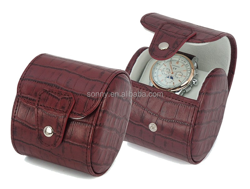 Aligator Line Leather Travel Watch Roll Case for 3 Watches Storage
