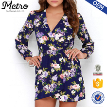 Manufacture Women Wrap Long Sleeve Navy Blue Floral Printed Tunic Dress