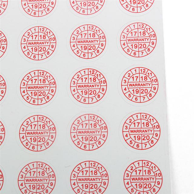 Custom Self Adhesive Anti Counterfeit Deadline Date Warranty Sticker Fragile Paper Sticker Labels