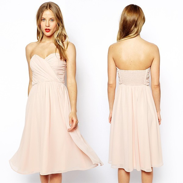 2015 New Arrival Sweetheart Neckline Bandeau Design Chiffon bridesmaid dress
