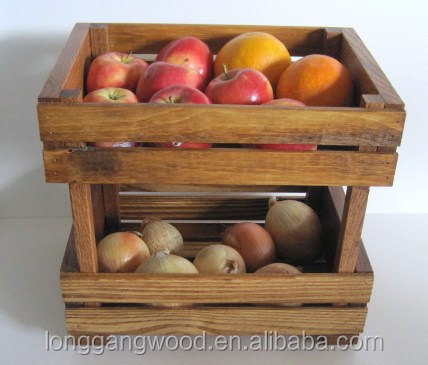 Slat Wood Fruit Storage Crate Wood Vegetable Crates For Sale wood box