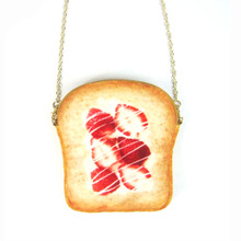 Custom Printing Logo Bread Shape Coin Case 3D Printing Strawberry Toast Money Bag Plush Single Shoulder Bag
