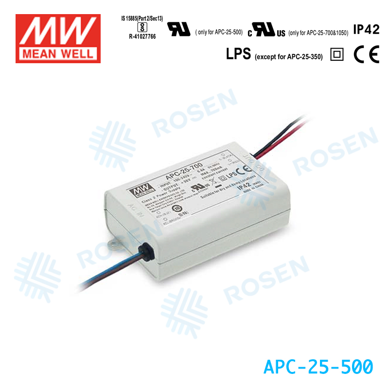 ORIGINAL Meanwell APC-25-700 25W 700mA IP42 AC-DC Small and compact size LED Switch Power Supply