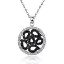 Luxury 18K Platinum Plated Round Pendants Necklaces with Paved Micro AAA Cubic Zircon Women Jewelry