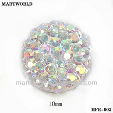 crystal white round shape resin flat back stone for dress(HFR-002)