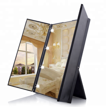 Led Lighted desktop three-sided folding make-up mirror