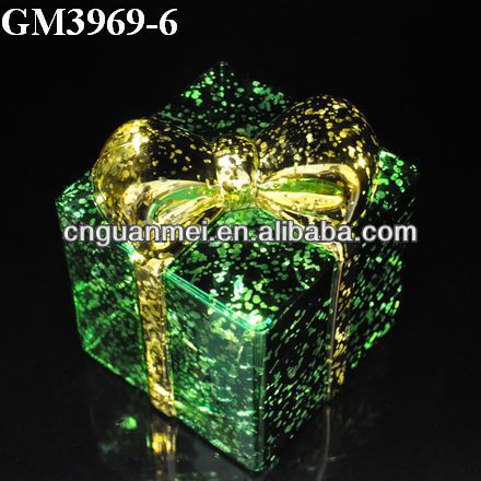 Wholesale blown lighted glasss holiday gift box/christmas box