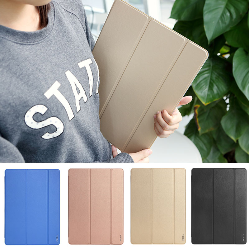 Case for ipad Pro 12.9, for iPad Pro 12.9 ROCK Three folding Leather Case Clear PC Back Cover with wake up/sleeping function