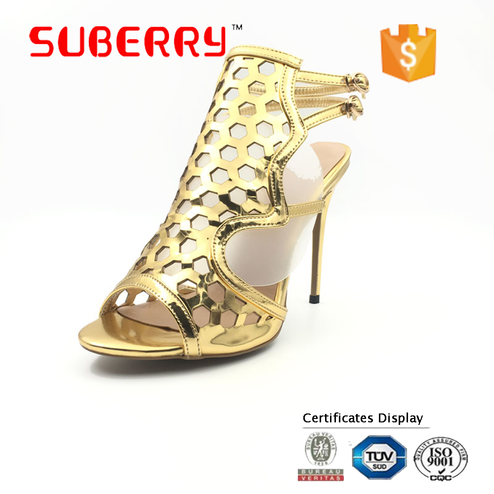 SUBERRY gladiator sandals women thin high heel womens summer shoes Hollow Solid color back strap Sexy party pumps