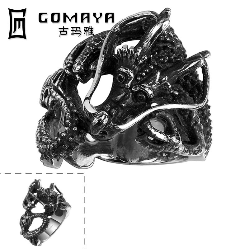 Latest Design Animal Shaped Jewelry GMYR103 Stainless Steel Dragon Ring