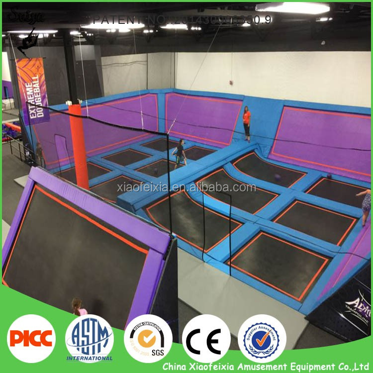 professional wholesale indoor trampoline with nets & basketball hoop
