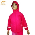 Child Red Beautiful PU Raincoat with Reflective