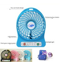 Portable Mini fans Strong Wind Desk Fan with 18650 Battery 2200mAh LED Light for Outdoor Children from YQ