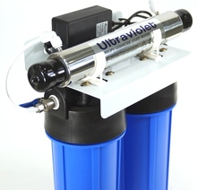 Medium 2 stage water filtration system with UV ultraviolet light sterilizer