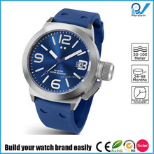 Build your watch brand easily quartz stainless steel back silicon watch band 10ATM water resistant