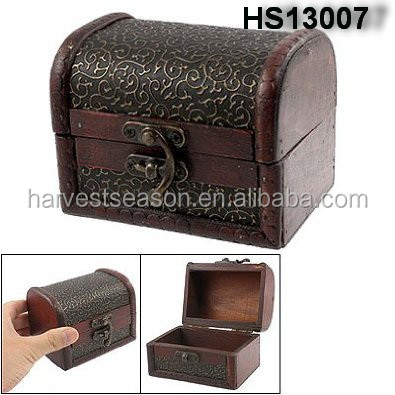 Antique Wooden Treasure Chest Trinket Box