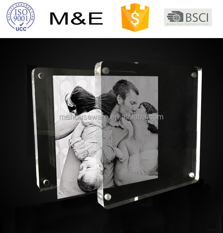 Manufacturer supplies double sided acrylic photo frame with magnets