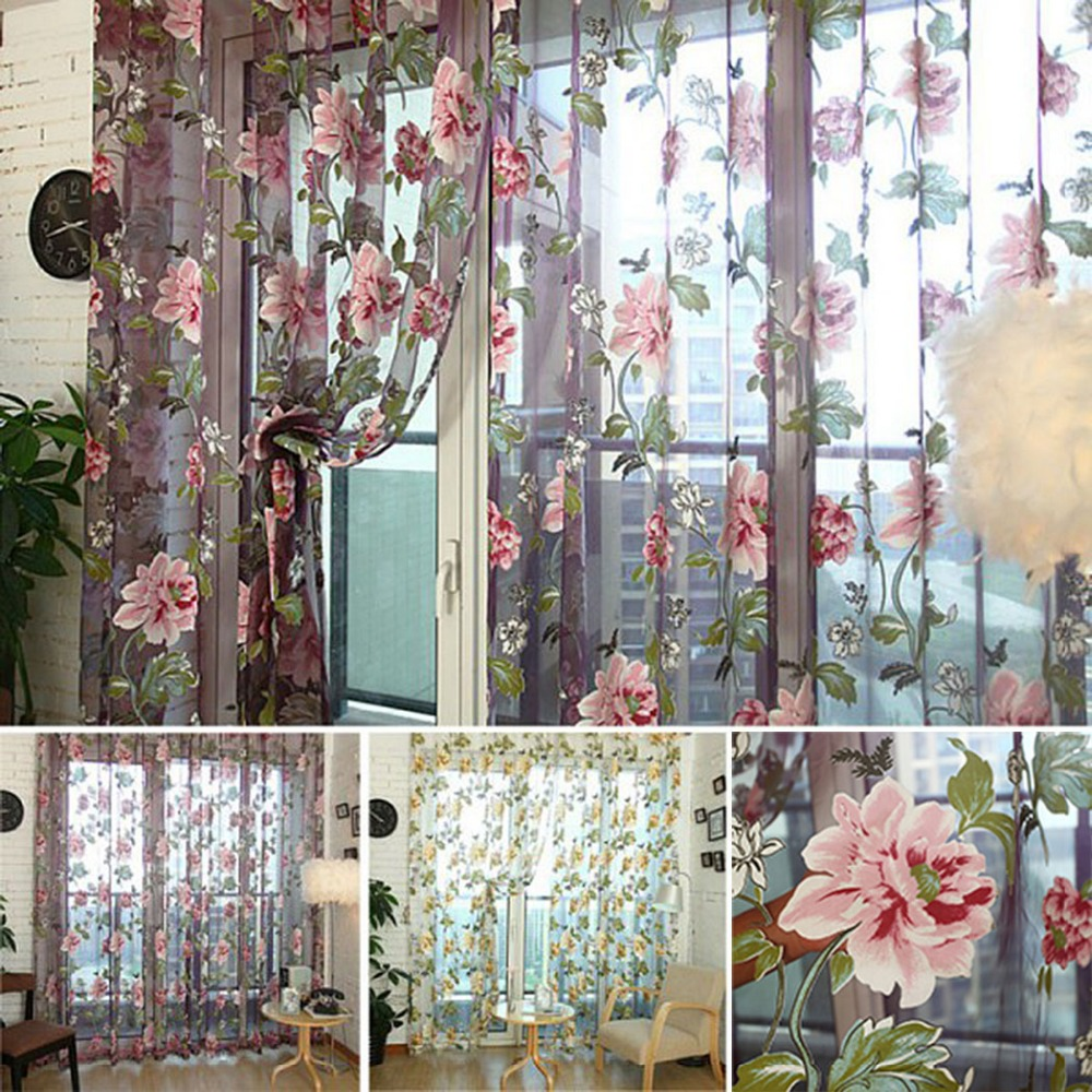 New Tulle Shielding Floral Curtains Window Screen Bedroom