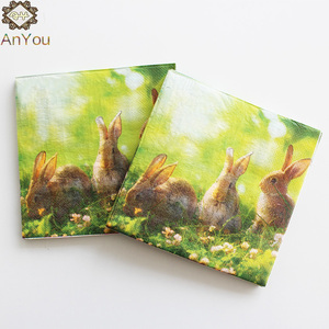 Premium Quality Rabbit printed Easter Napkin Serviettes For Fiesta Party