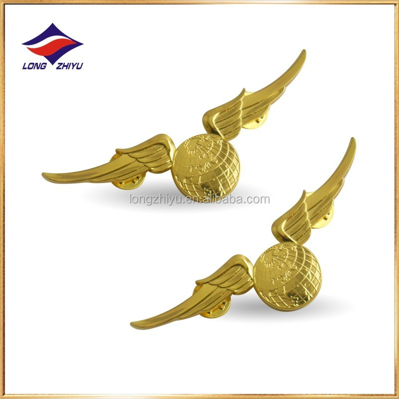 Metal cheap custom gold plated genesis wing badge pilot wings engraving logo lapel pin with butterfly clasp for souvenir