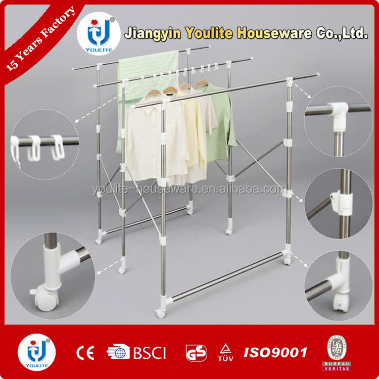 Multi-bar collapsible folding clothes display rack