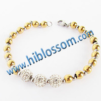 made in China stainless steel gold bead jewelry wholesale shamballa bracelet