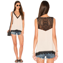 High quality summer top loose fancy v neck top women casual sleeveless top