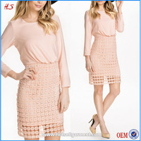 Ladies Fashion Dresses with Pictures Low Price High Quality Long Sleeve Lace Dresses / Short Frock Dress
