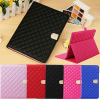 Diamond Crystal Quilted Stand Leather Magnetic Case For iPad 2 3 4