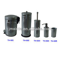 household galvanized steel bathroom sets of pedal bin,tissue holder,toilet brush,liquid bottle and rinse cup