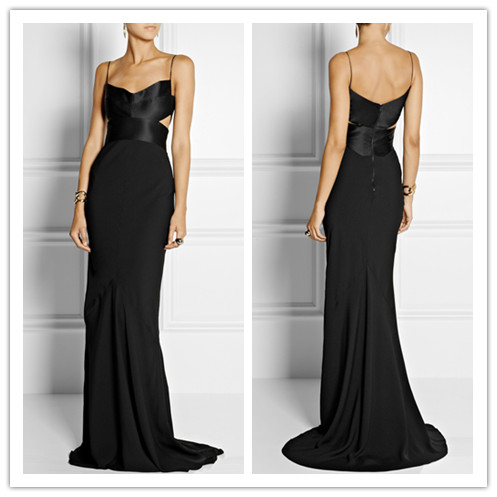 2015 Black silk-satin ladies long evening party wear gown dresses in floor pattern LY0465