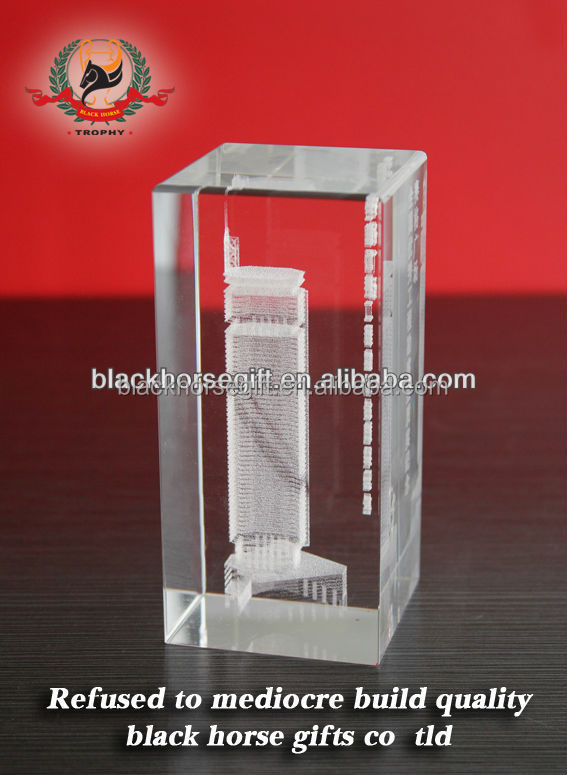 Black clear crystal 3d laser etched paperweight