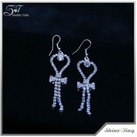 2013 charming white diamond drop earring crystal fashion earring silver earrings for girl