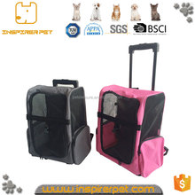 Pet supplies travel carrier bag with two wheels