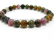 handmade 8mm nature colorful agate stone,October birthstone-birth tourmaline bracelet