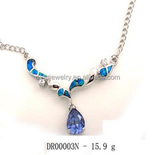 Hot Sale Silver Jewelry Blue Opal Meaningful Pendant Necklace For Girl