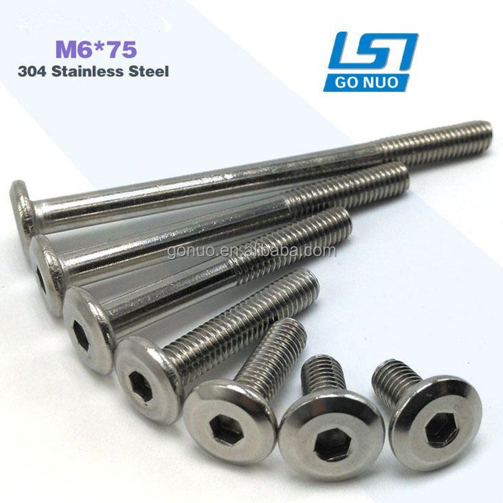 M6 * 75, Flat Head Bolt Hardware Stainless Steel Furniture Fasteners