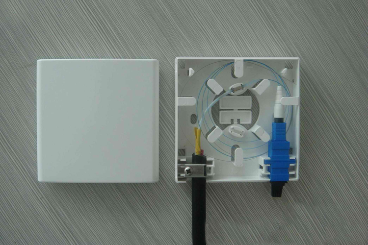 Indoor Wall Mounted 86*86mm Mini 2 Port FTTH Fiber Optic Information Face Plate