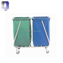 JQ-B59 stainless steel base two dressing bags medical waste trolley patient room linen cleaning hospital crash cart
