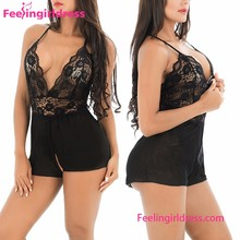 Women High Quality Deep V Neck Sexy Black Lace Lingerie Open Crotch Sexy Babydoll
