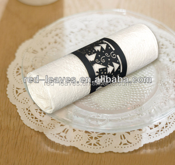 2015 New Design Cheap Laser Cut Pear Paper Christmas Crafts Napkin Rings for Christmas Party Favors Christmas Tree Design Napkin