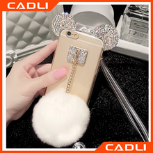 For iPhone 6 6s plus Luxury Bling Rhinestone ear Mickey Mouse Fur Ball cover Phone Case with strap
